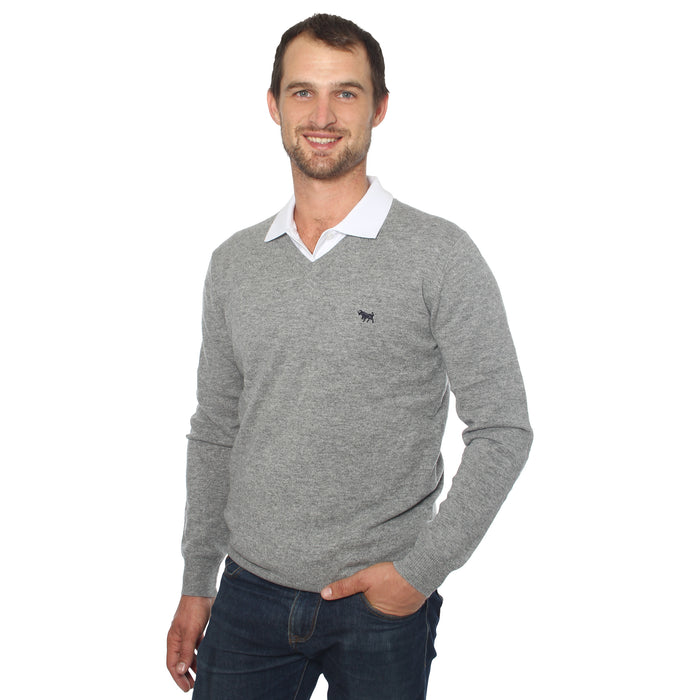 Cashmere Mens V Neck Sweater Grey Marle