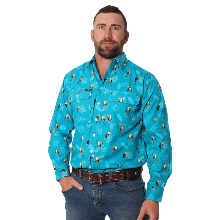 Toucan Mens Full Button Loose Fit Long Sleeve Workshirt Teal