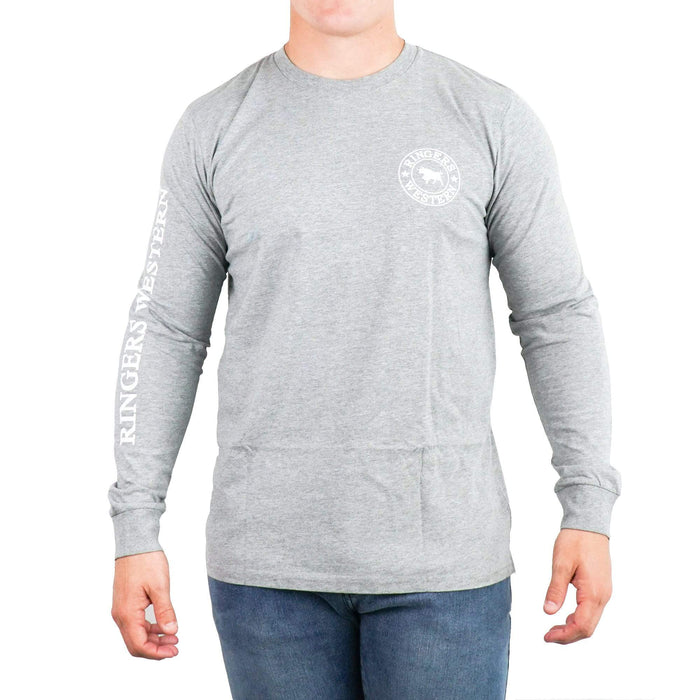 Mens RW Long Sleeve Tee in Grey/White