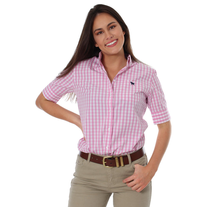 Kelly Womens Gingham Check Dress Shirt Pink