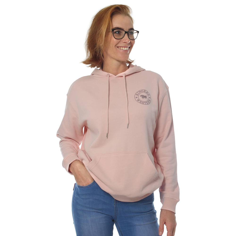 Signature Bull Womens Pullover Hoodie Pale Pink & Rose Gold