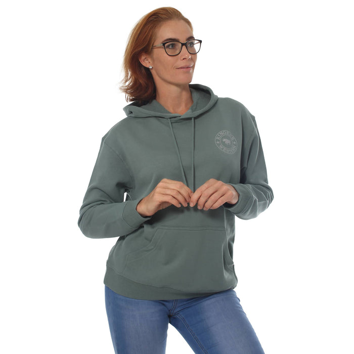 Signature Bull Womens Pullover Hoodie Sage & Silver