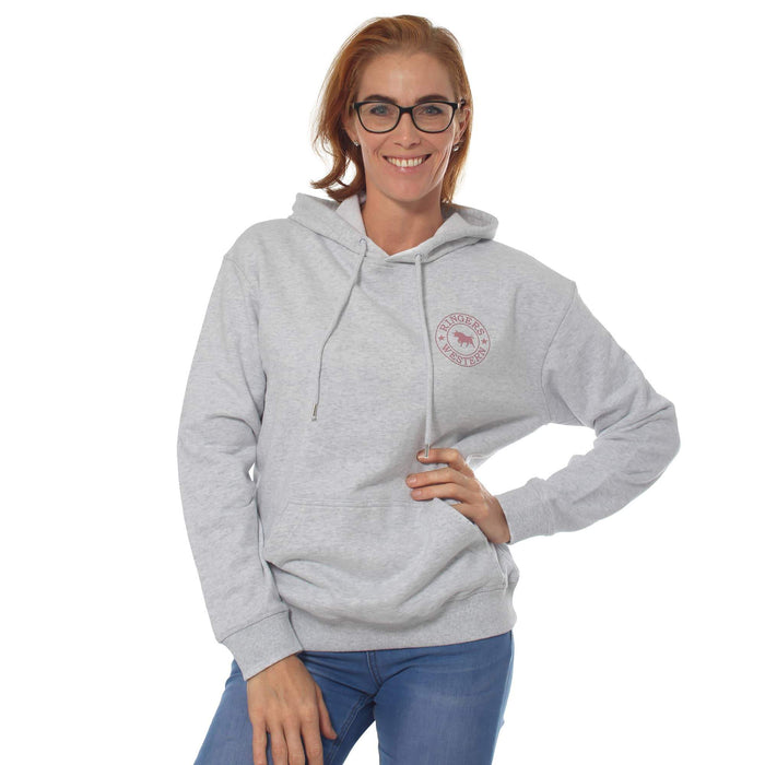 Signature Bull Womens Pullover Hoodie White Marle & Dusty Rose