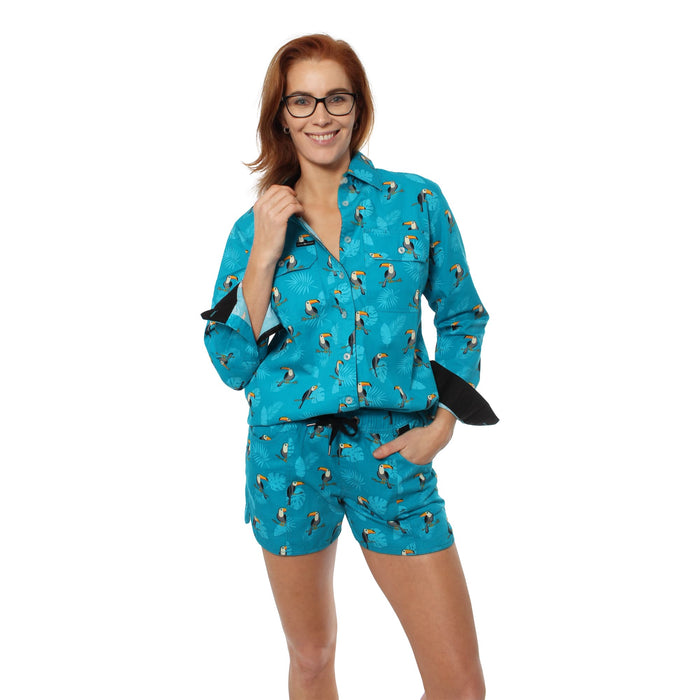 Toucan Womens Full Button Loose Fit Long Sleeve Workshirt Teal