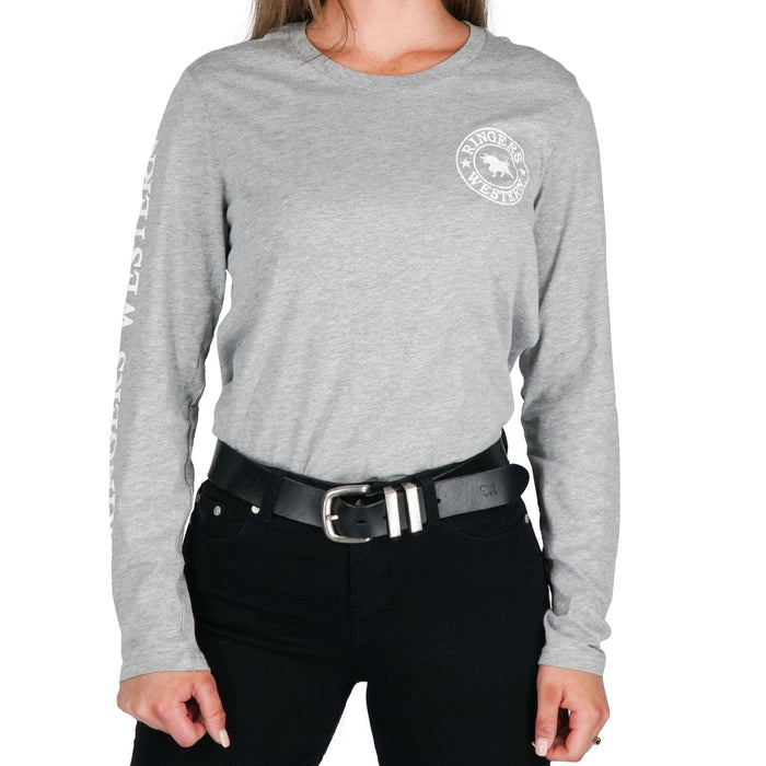 Womens RW Long Sleeve Tee in Grey/White