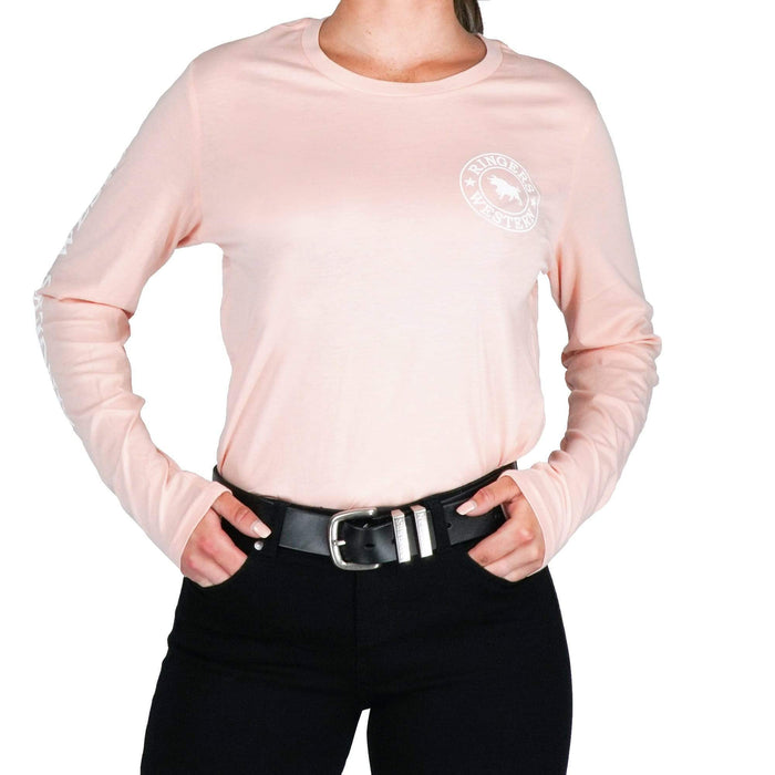 RW Womens Long Sleeve Tee in Peach/White