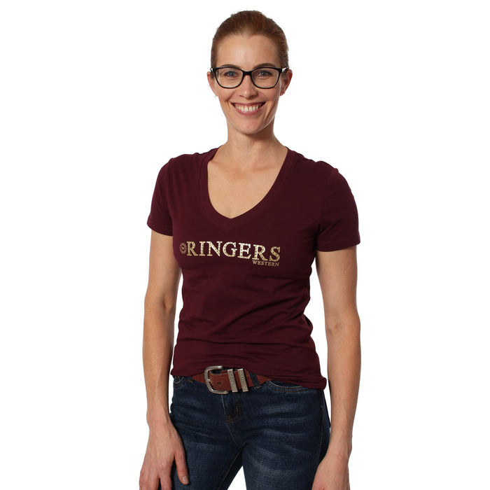 Tanami Womens Scoop Neck Fitted Top Burgundy
