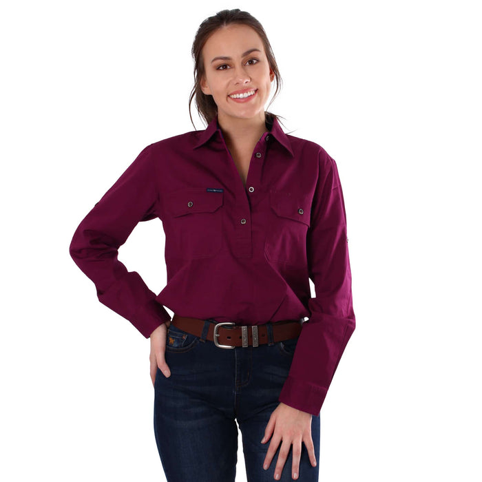 Pentecost River Womens Half Button Work Shirt Wine