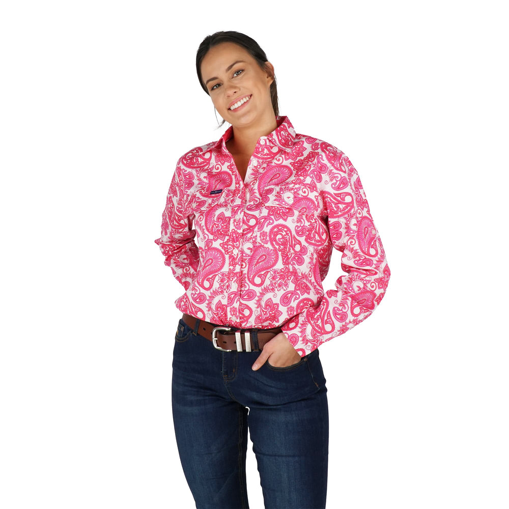Paisley Womens Full Button Loose Fit Work Shirt Pink Paisley