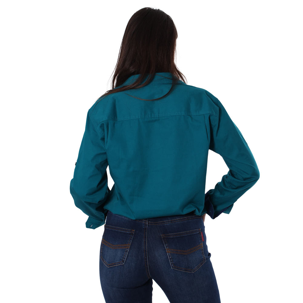 Pentecost River Womens Half Button Work Shirt Teal