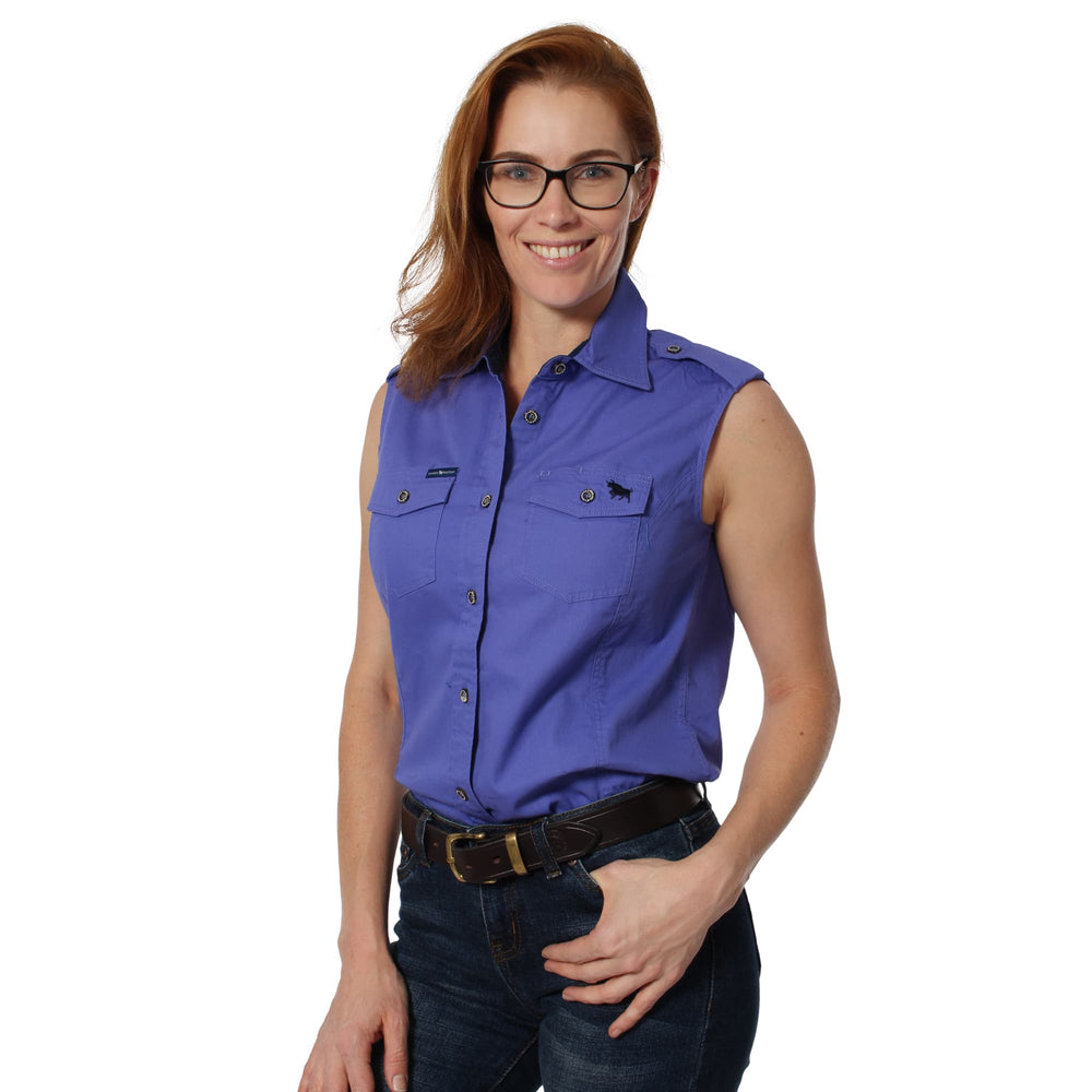 Pentecost River Womens Sleeveless Work Shirt Purple