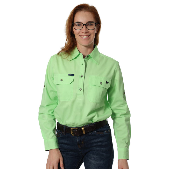 Pentecost River Womens Half Button Work Shirt Pistachio