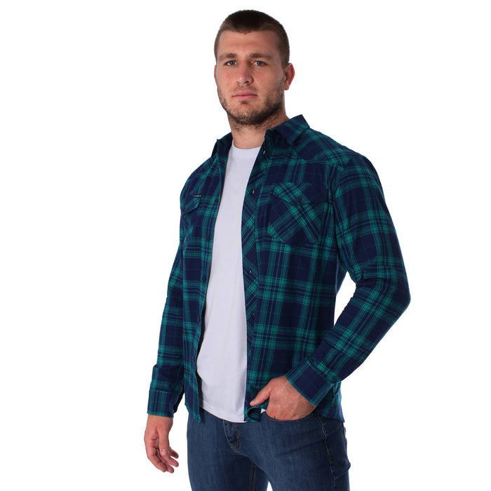 Cooma Mens Flanno Semi Fitted Shirt Green Navy Check