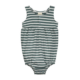 Gray Label Summer Bubble Onesie - Grey Blue and White Stripe