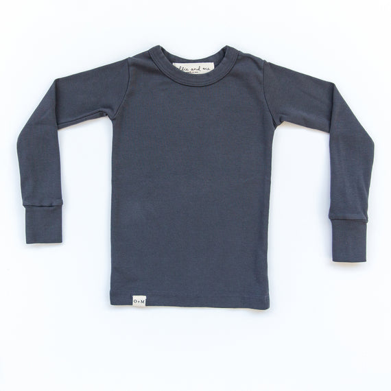 O + M The Label - Not So Basic Fitted Long Sleeve Tee - Charcoal