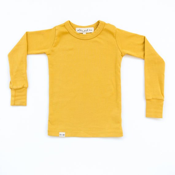 O + M The Label - Not So Basic Fitted Long Sleeve Tee - Sunny Side Up