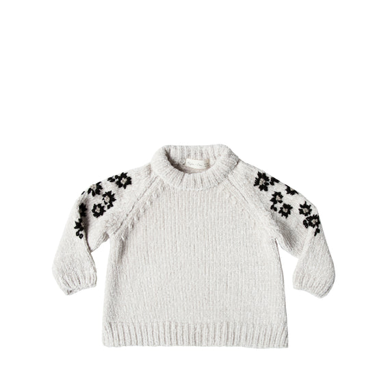 Rylee + Cru Floral Embroidered Chenille Sweater