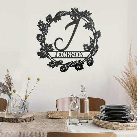 Autumn Wreath Monogram - Redline Steel