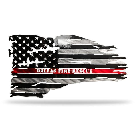 Distressed Fire Flag - Redline Steel