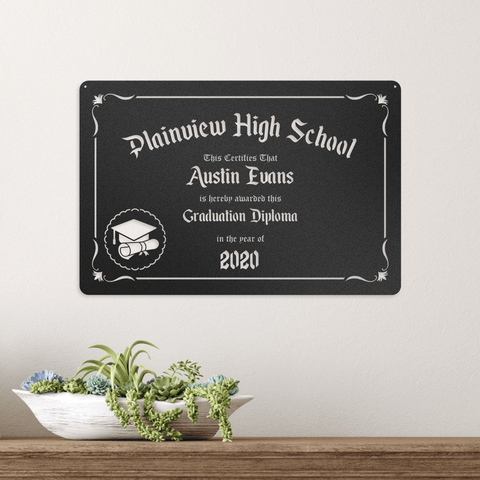 Graduation Monogram - Redline Steel