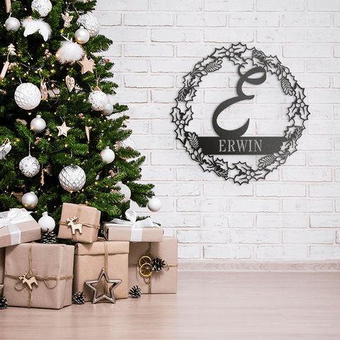 Holiday Wreath Name Monogram
