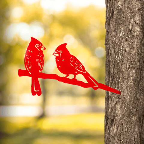 Cardinal Love Birds (Tree Stake)
