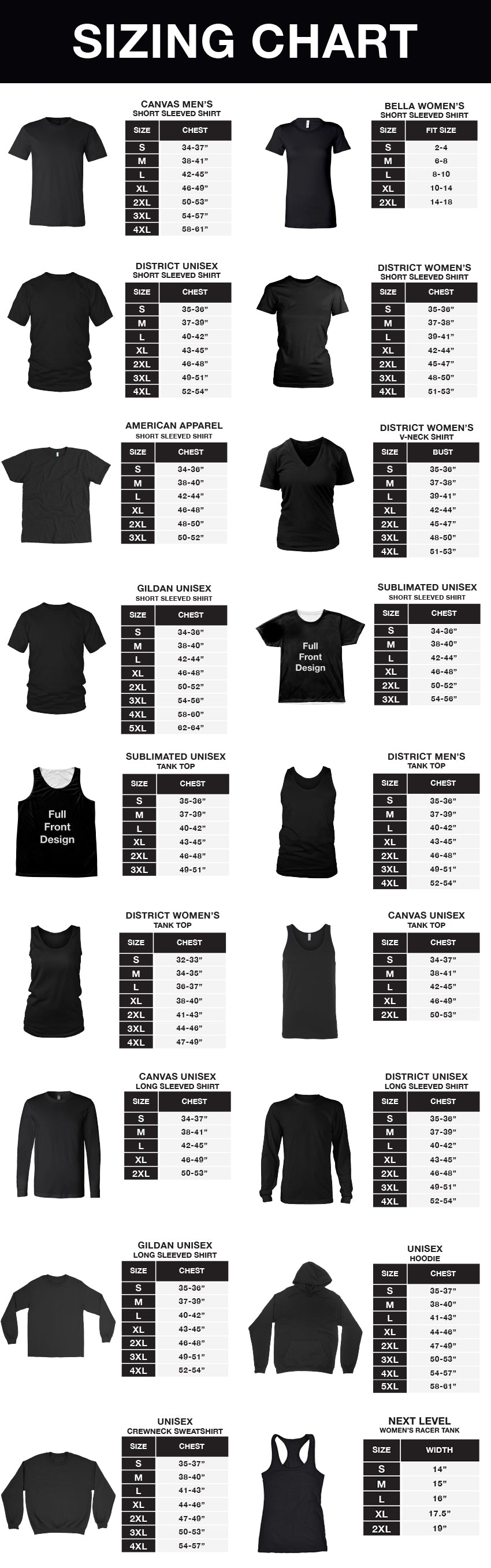 Sizing Charts – grizzshop