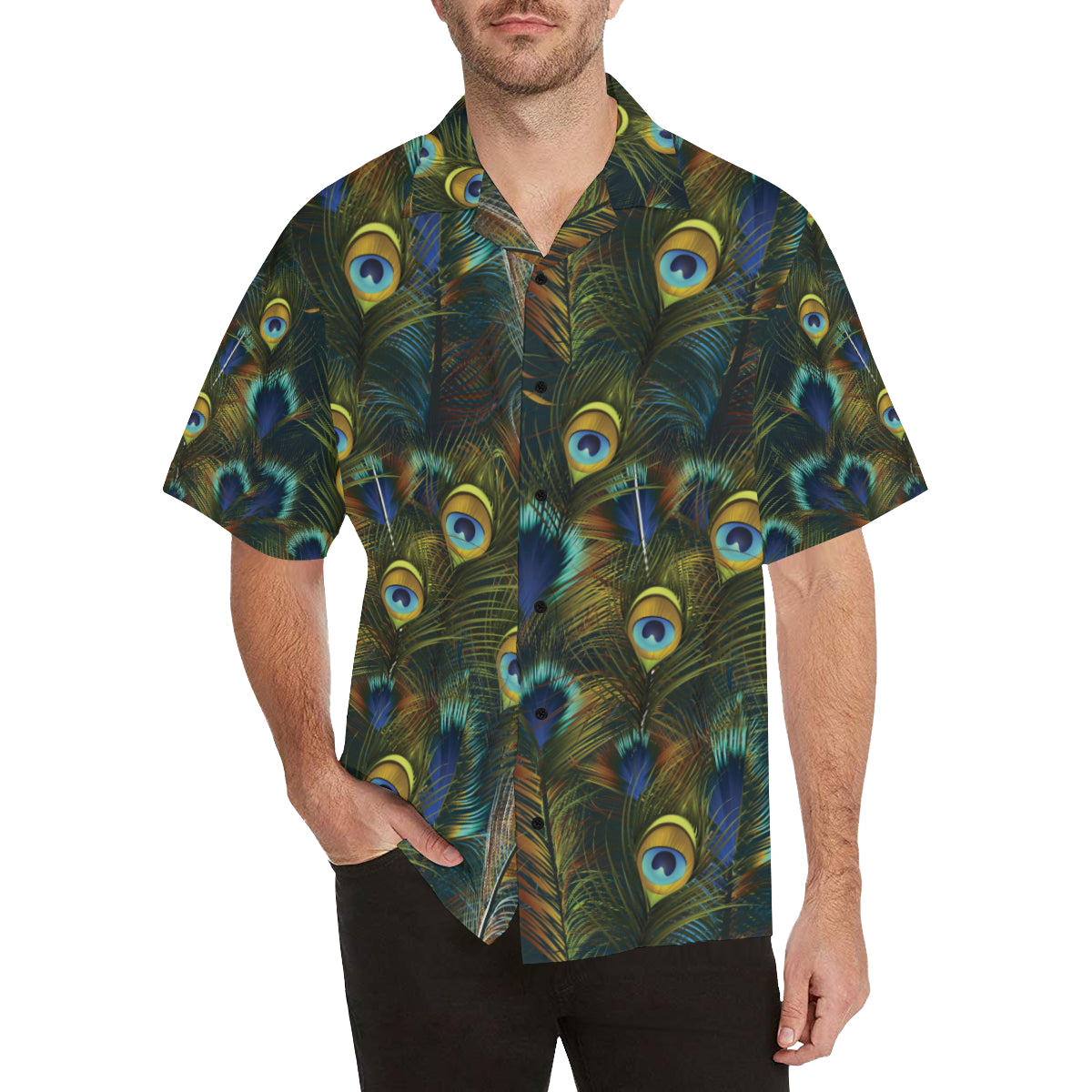 Peacock Feather Pattern Print Design A03 Hawaiian Shirt