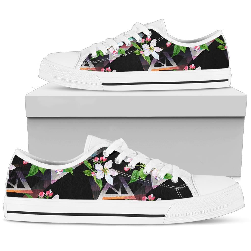 Apple blossom Pattern Print Design AB07 White Bottom Low Top Shoes
