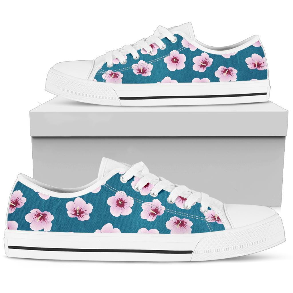 Cherry Blossom Pattern Print Design CB08 White Bottom Low Top Shoes