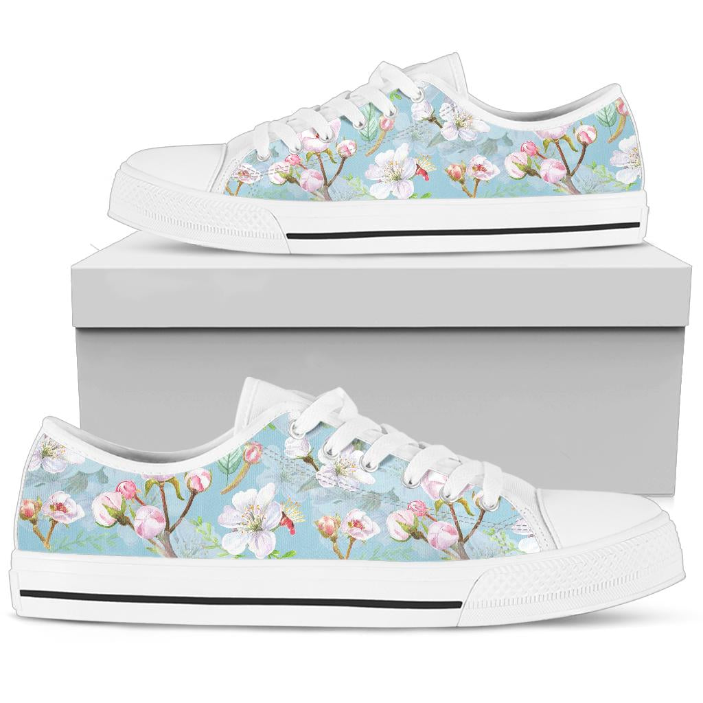 Apple blossom Pattern Print Design AB06 White Bottom Low Top Shoes