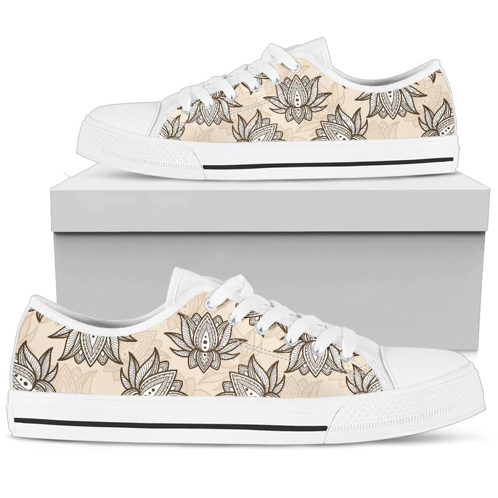 lotus Boho Pattern Print Design LO05 White Bottom Low Top Shoes