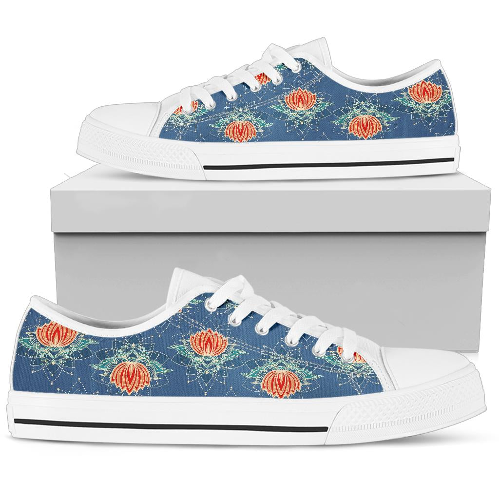 lotus Boho Pattern Print Design LO07 White Bottom Low Top Shoes