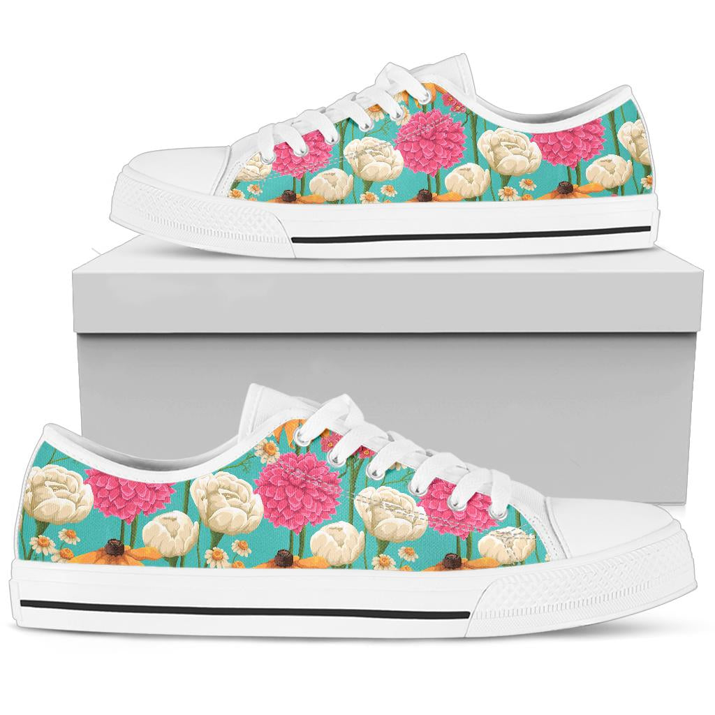 Summer Floral Pattern Print Design SF07 White Bottom Low Top Shoes