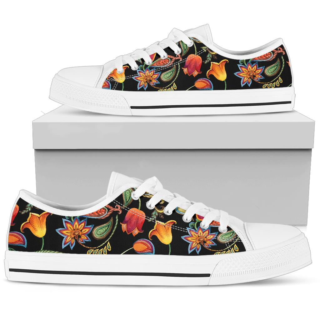 Tulip Boho Pattern Print Design TP09 White Bottom Low Top Shoes