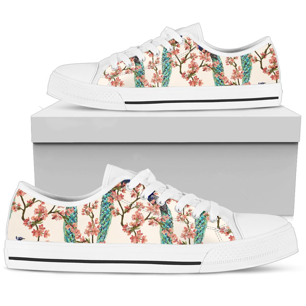 Cherry Blossom Peacock White Bottom Low Top Shoes