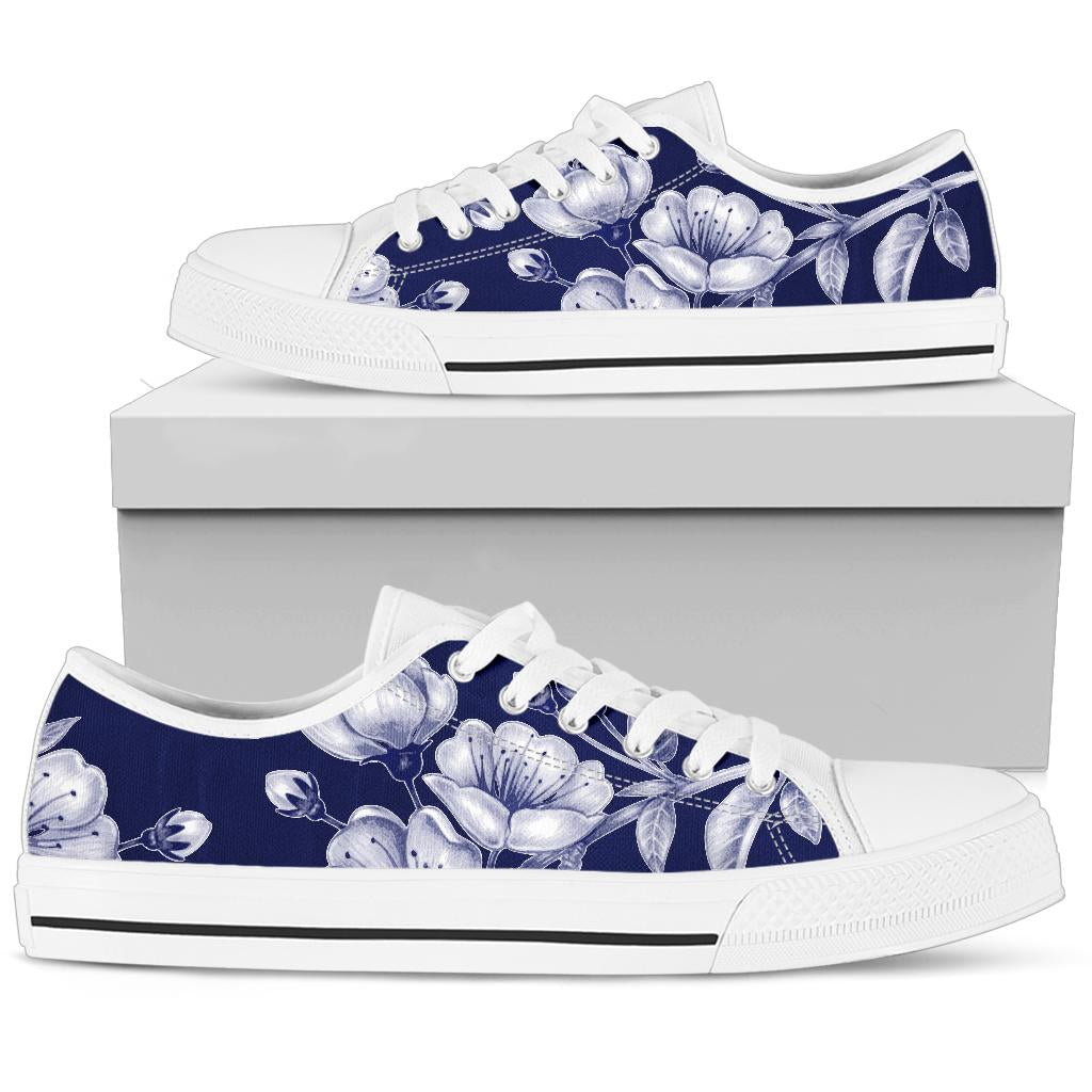 Cherry Blossom Pattern Print Design CB01 White Bottom Low Top Shoes