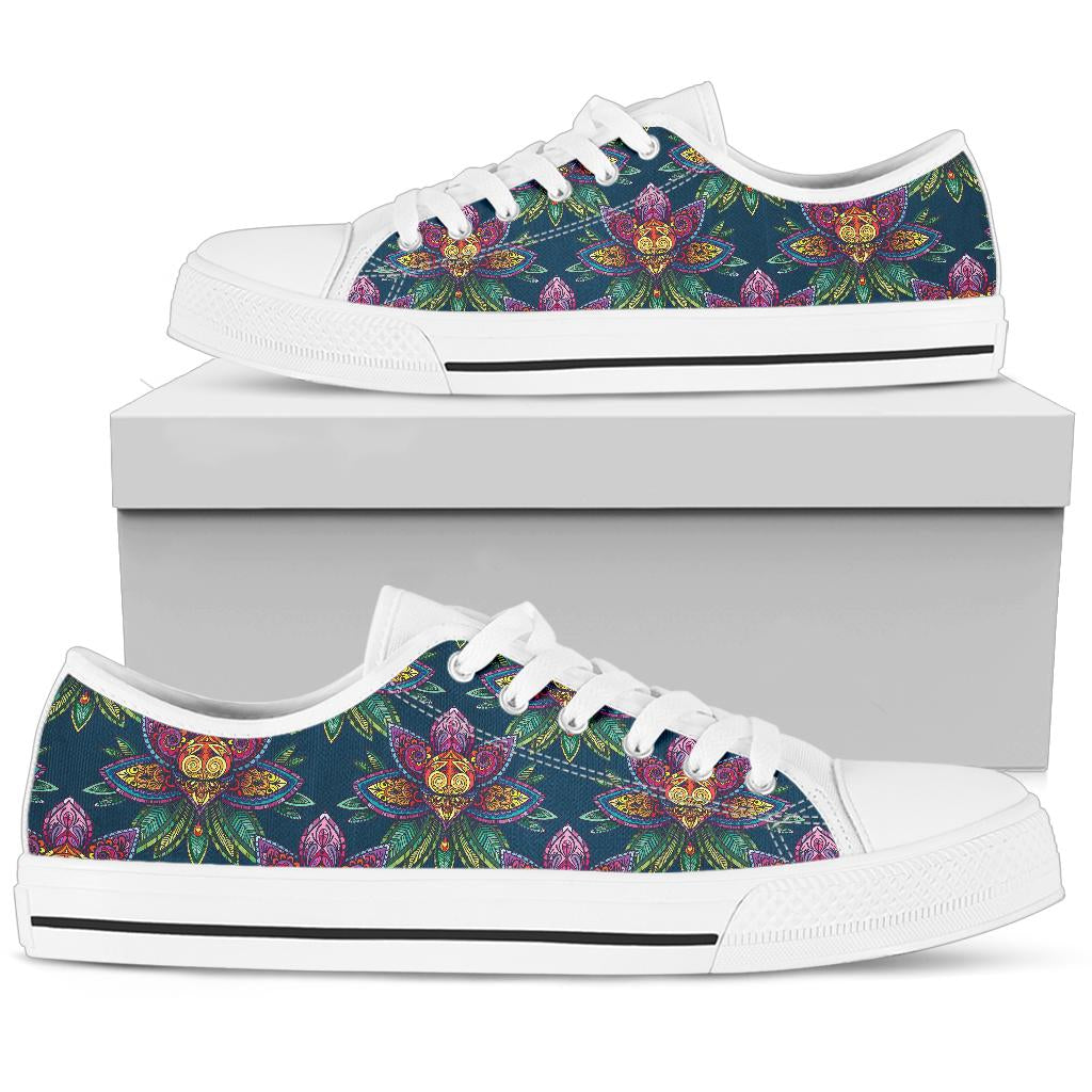 lotus Boho Pattern Print Design LO04 White Bottom Low Top Shoes