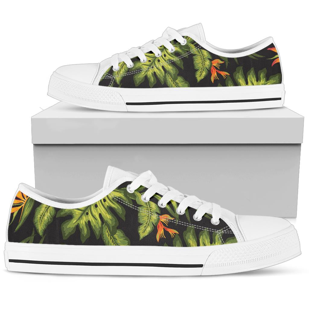 Bird Of Paradise Pattern Print Design BOP013 White Bottom Low Top Shoes