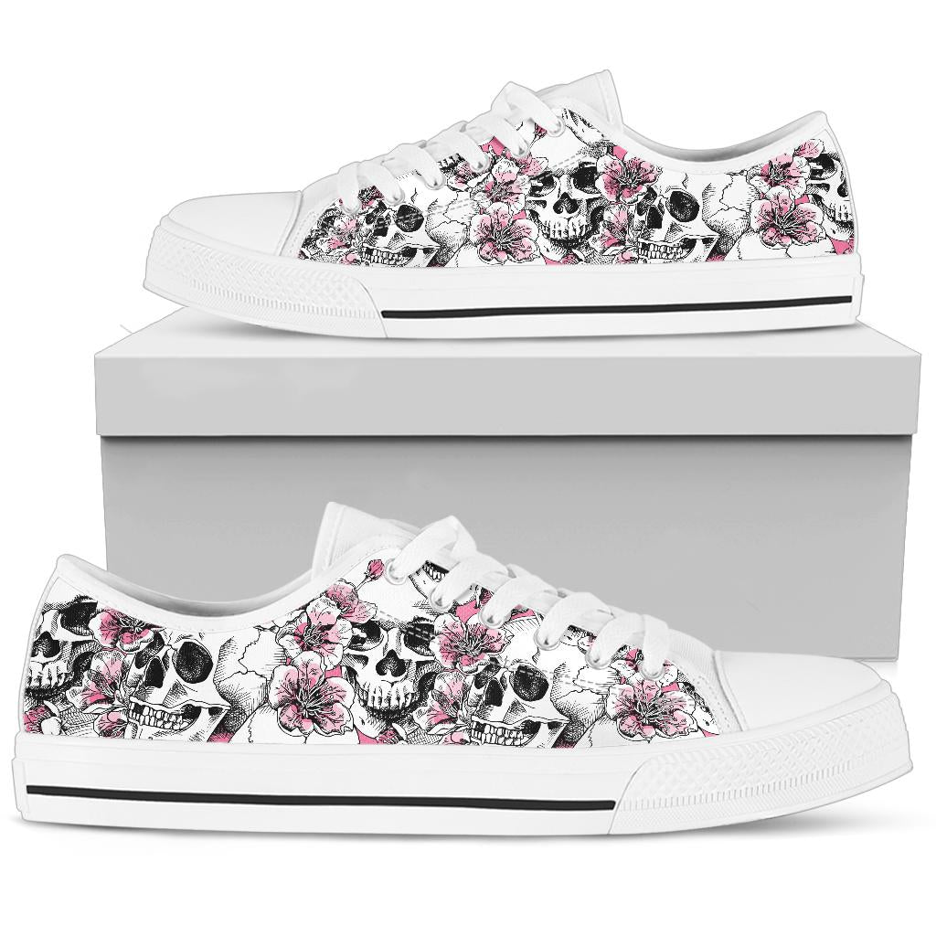 Cherry Blossom Pattern Print Design CB03 White Bottom Low Top Shoes