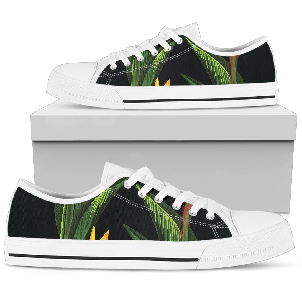 Bird Of Paradise Pattern Print Design BOP012 White Bottom Low Top Shoes