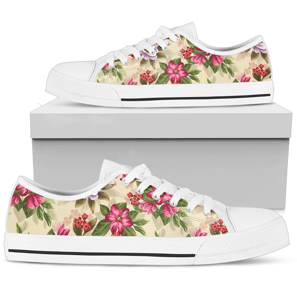 Summer Floral Pattern Print Design SF08 White Bottom Low Top Shoes