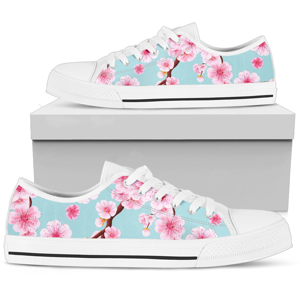 Cherry Blossom Pattern Print Design CB04 White Bottom Low Top Shoes