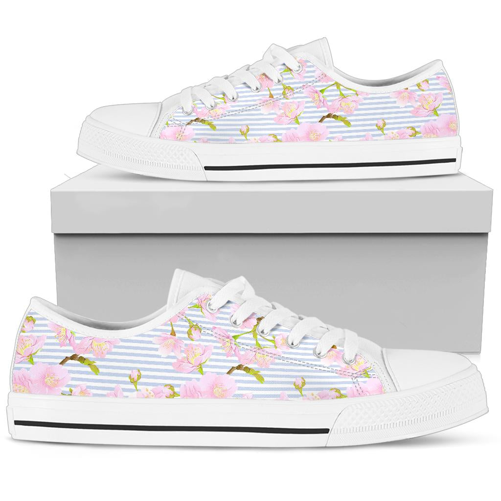 Pink Cherry Blossom Sakura White Bottom Low Top Shoes
