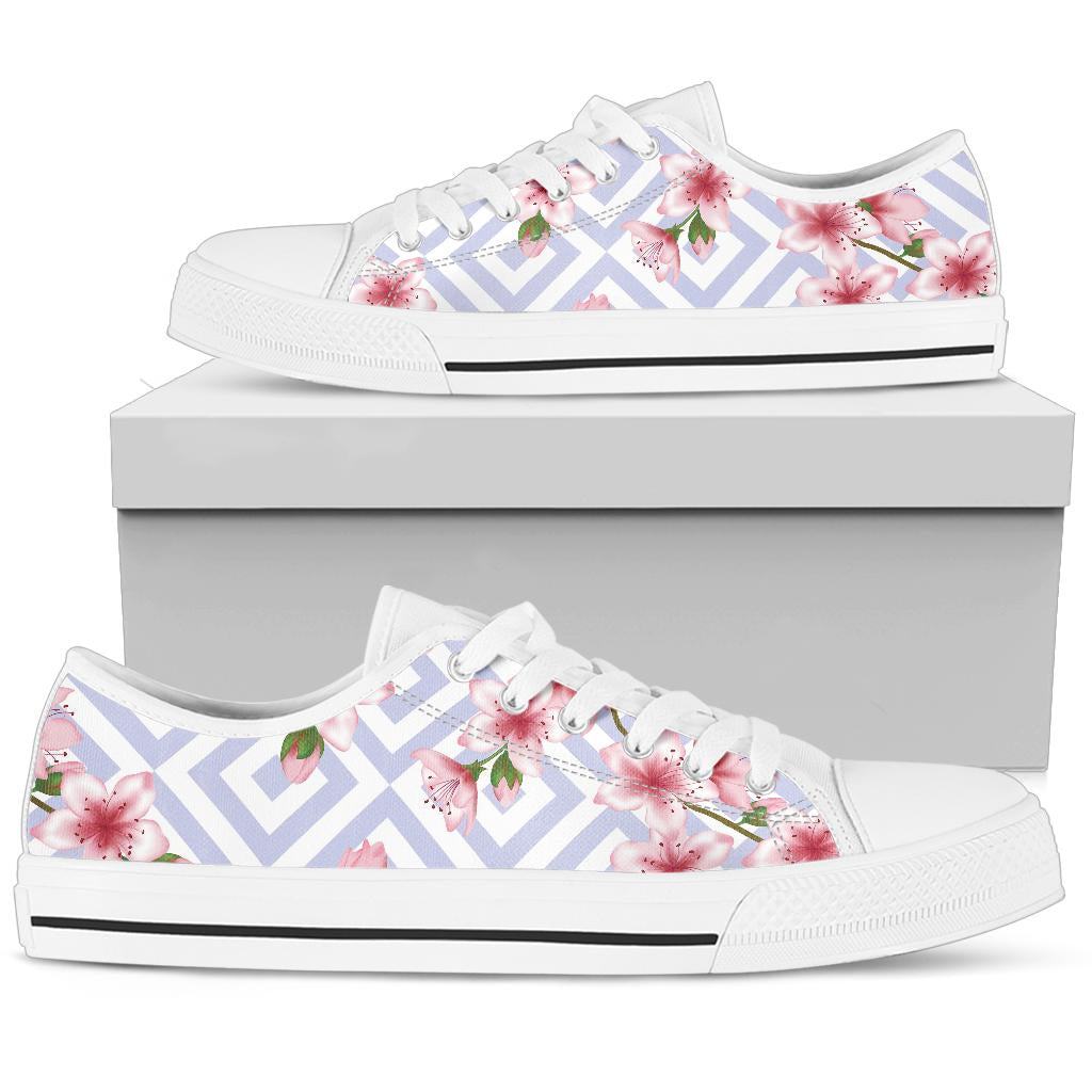 Cherry Blossom Pattern Print Design CB07 White Bottom Low Top Shoes