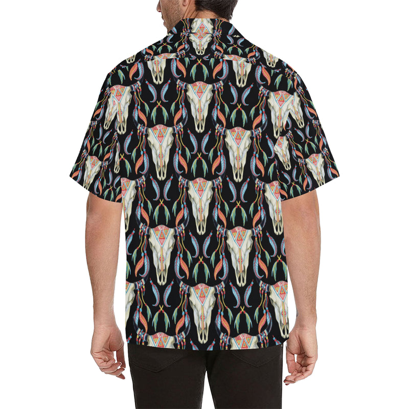 Buffalo Head Boho Style Pattern Print Design 01 Hawaiian Shirt