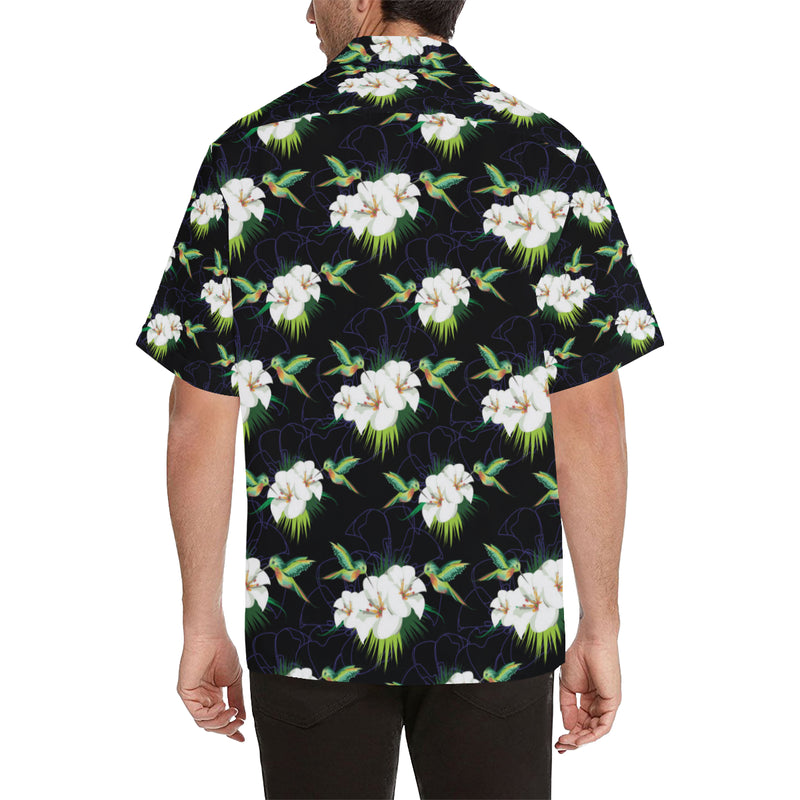 Hummingbird with Flower Pattern Print Design 03 Hawaiian Shirt