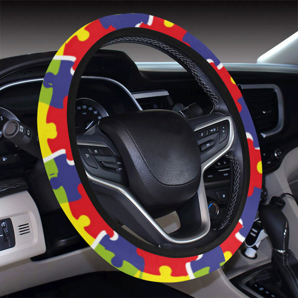 Autism Awareness Pattern Print Design 03 Steering Wheel Cover with Elastic Edge