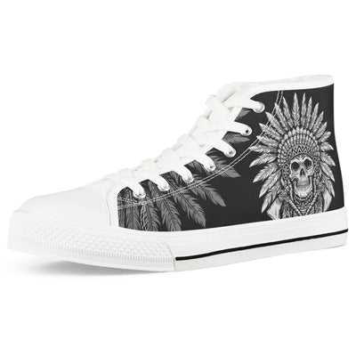 Native American Indian Skull Men High Top Canvas Shoes