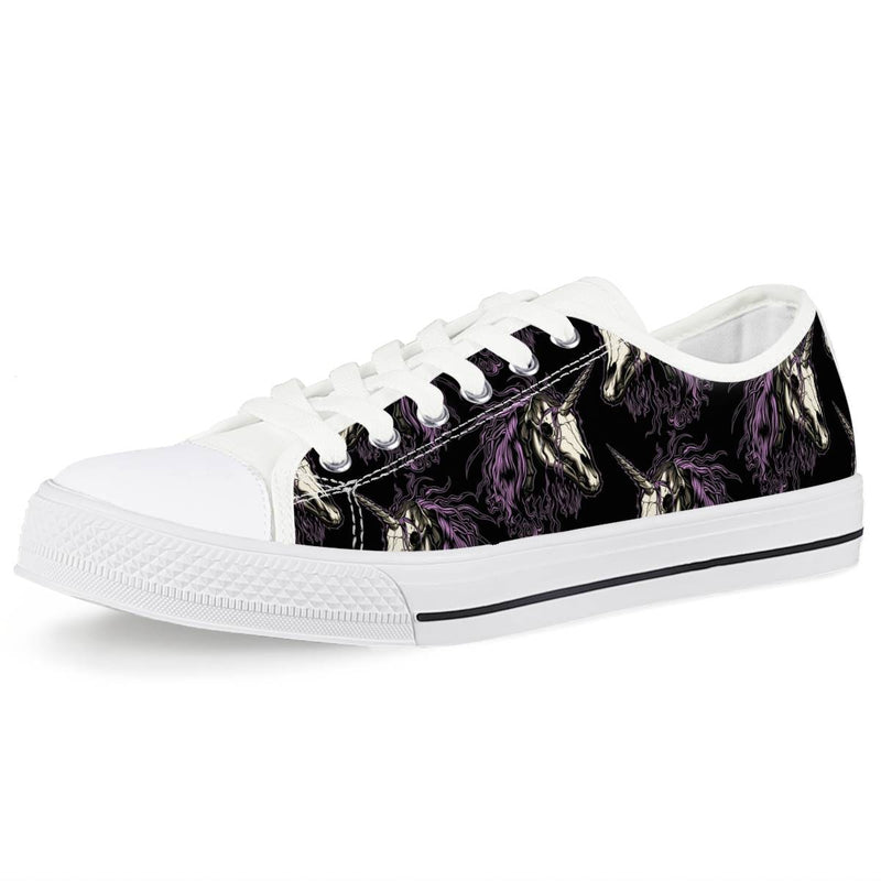 Unicorn Skull head Women Low Top Shoes